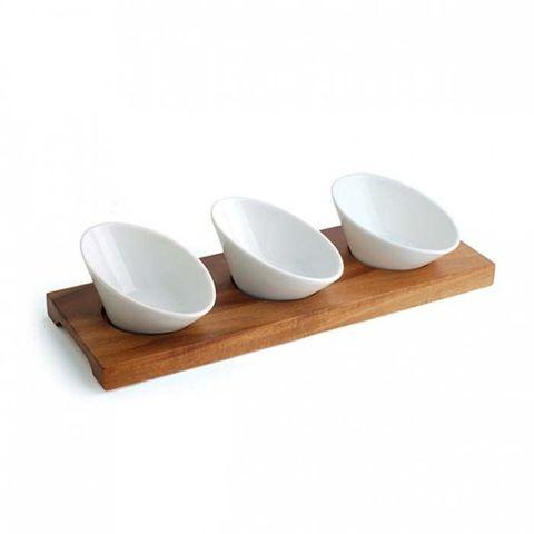 Tapas Set W/3 Porcelain Bowls 308x105mm ATHENA CORTE