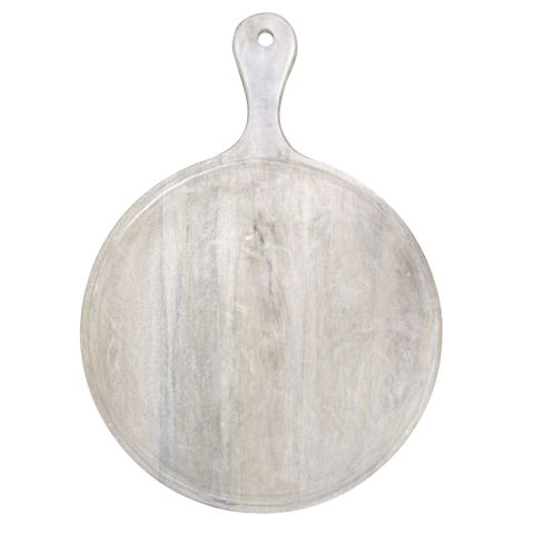 Mangowood Serving Board Round w/HDL 570x780x35mm White