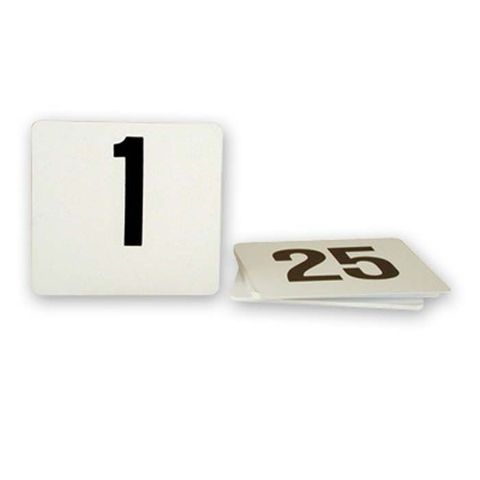 Plastic Table Number Set 1-50 Black on White