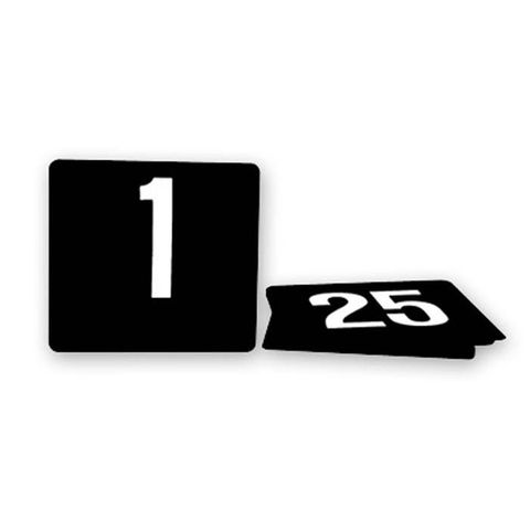 Plastic Table Number Set 1-25 White on Black