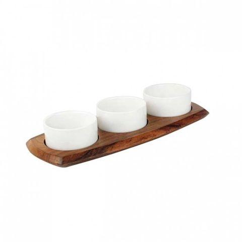 Relish Set W/3 Dipping Bowls 144x338mm ATHENA
