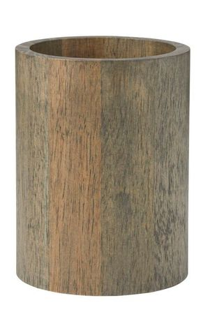 Rubber Wood Utensil Holder D12.5x16.5cm