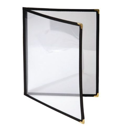 A4 Menu Cover Clear with Black Rim 32x23cm (2 pages)