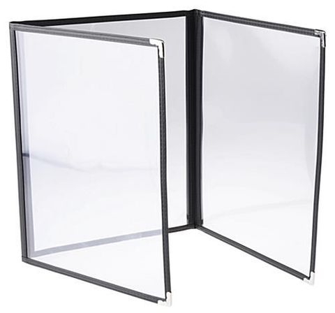 A4 Menu Cover Clear with Black Rim 32x23cm (3 pages)