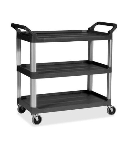Black 3 Shelf Utility Trolley Large - 1020x500x960mm