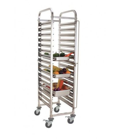 15 Pan Stainless Steel Steam Pan Trolley-Assembled
