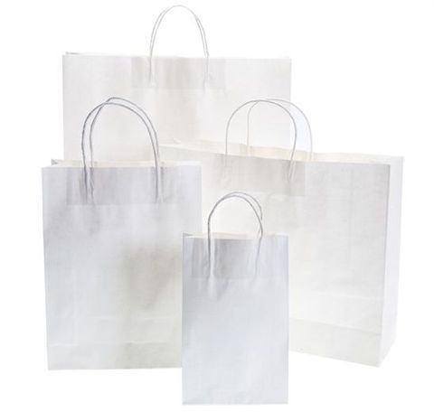 White Kraft Paper Bag 150gsm - 420x110x310mm - 50/Pack