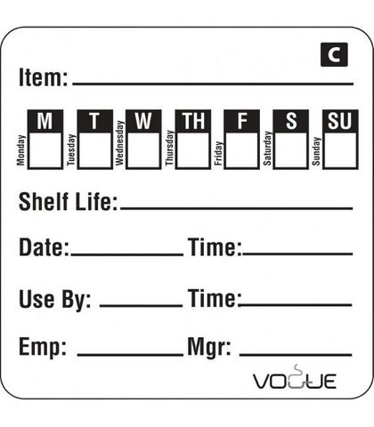 Freezable Day of the Week Labels (roll of 500)