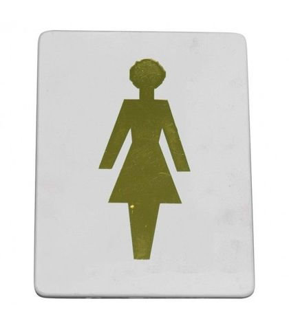 """Female symbol"" Gold on white"