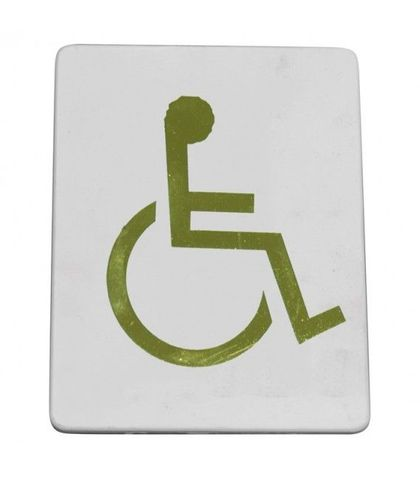 """Wheelchair sumbol"" Gold on white"