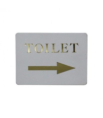 """Toilet/ Right arrow"" Gold on white"