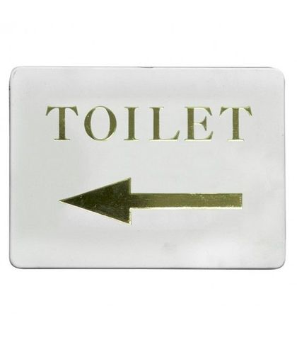"""Toilet/ Left arrow"" Gold on white"
