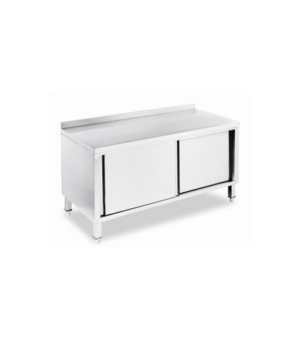 Stainless Steel Work Table Bench with Under Cabinet and Splashback 1350x700x(900+100)mm