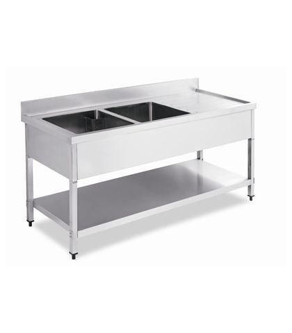 Stainless Steel Work Table Bench with Double Sinks and Splashback 1800x700x(900+100)mm