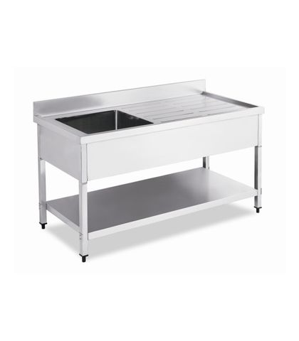 Stainless Steel Work Table Bench with Single Sink and Splashback 1500x700x(900+100)mm
