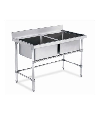 Stainless Steel Work Table Double Sinks with Splashback 1200x700x(900+100)mm