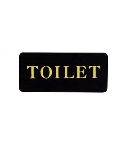 """Toilet"" Wall Sign - Gold On Black - Chef Inox"