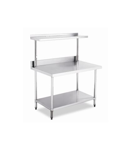 Stainless Steel Work Table Bench with Top Shelf and Splashback 1200x600x(900+550)mm