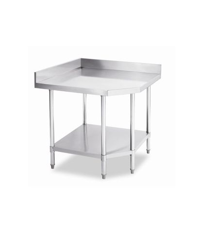 Stainless Steel Corner Work Table Bench with Splashback 900x600x(900+100)mm