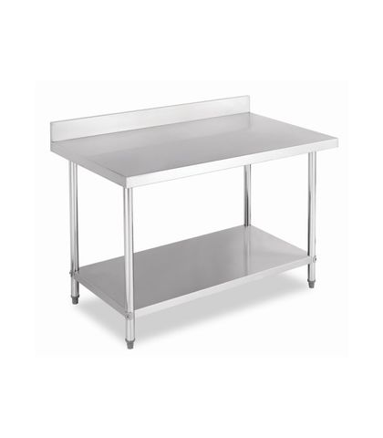 Stainless Steel Work Table Bench with Splashback 1200x760x(900+100)mm