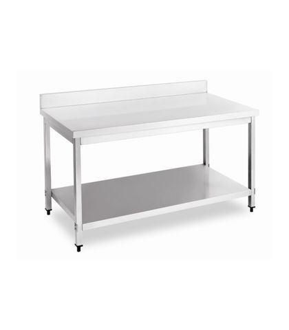 Stainless Steel Work Table Bench with Splashback 1200x700x(900+100)mm