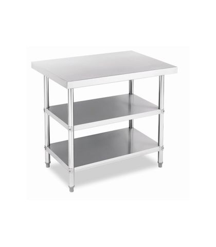 Stainless Steel Work Table Bench with Dual Under Shelf 1200x760x900mm