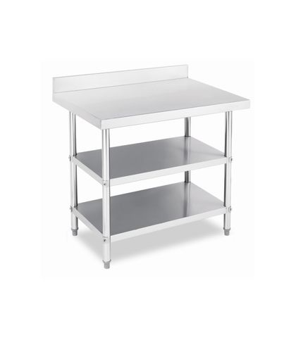 Stainless Steel Work Table Bench with Dual Under Shelf and Splashback 1200x760x(900+100)mm