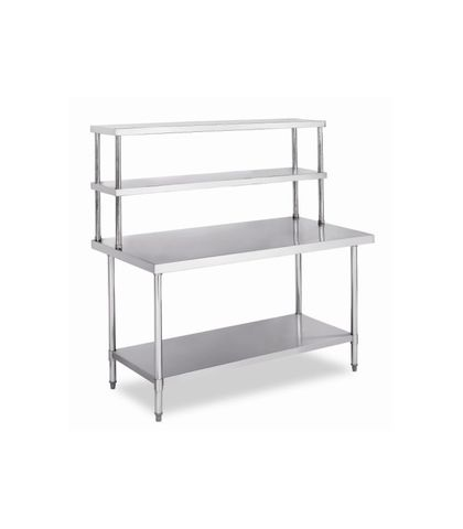 Stainless Steel Work Table Bench with Dual Top Shelf 1200x800x(900+660)mm