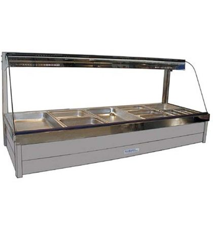 Roband C25RD - Curved Glass Hot Food Display Bars - Double Row, 5 Pans Wide with Roller Doors