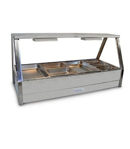 Roband E24 - Straight Glass Hot Food Display Bar - Double Row, 4 Pans Wide with Roller Doors