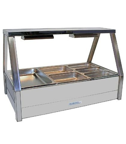 Roband E23 - Straight Glass Hot Food Display Bar - Double Row, 3 Pans Wide