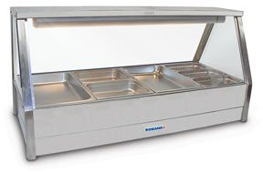 Roband E25 - Straight Glass Hot Food Display Bar - Double Row, 5 Pans Wide with Roller Doors