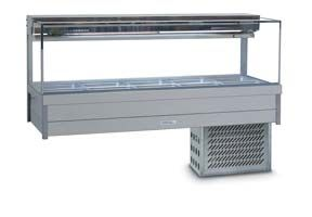 Roband SRX25RD - Square Glass Refrigerated Food Display Bar - Double Row, 5 Pans Wide