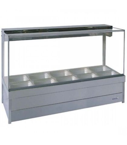 Roband S25 - Square Glass Hot Food Display Bar - Double Row, 5 Pans Wide with Roller Doors