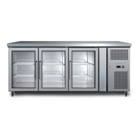 BROMIC Three Glass Door Under Bench Chiller 417L