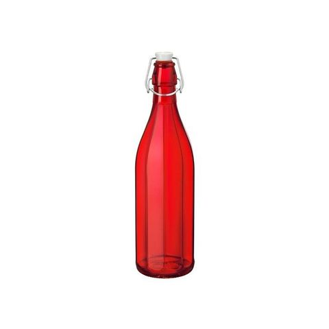 1.0lt Oxford Bottle With Top Bormioli Rocco - Red