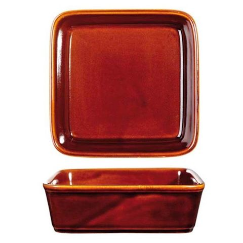 "Square Tapas Dish 180mm/1100ml""RUSTICS BROWN"" ART de CUISINE"