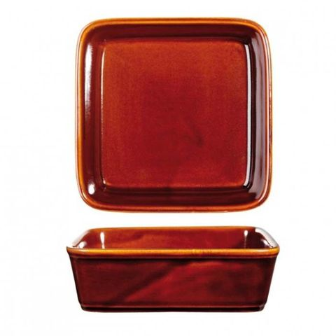 "Square Tapas Dish 130mm/563ml ""RUSTICS BROWN"" ART de CUISINE"