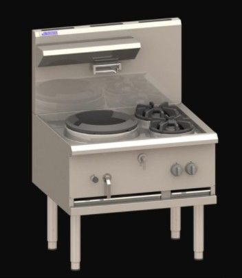 LUUS COMPACT WATERLESS WOKS 1 Hole 2 Side Burner Compact 325mm