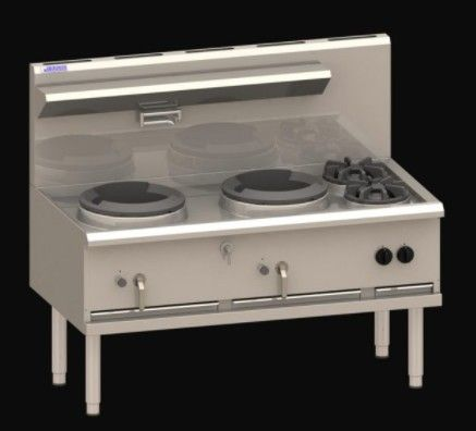 LUUS WX 1500 COMPACT WATERLESS WOKS 2 Hole 2 Side Burner Compact 325mm 270mj NAT/270mj LPG
