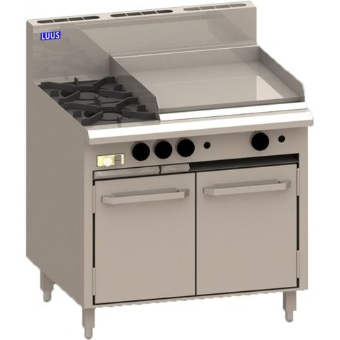 LUUS ESSENTIALS CRO 900MM 2 Burner 600mm Griddle & Oven 121mj NAT/111mj LPG