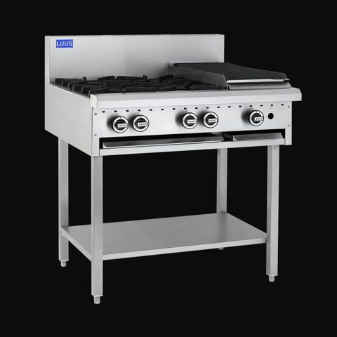 LUUS ESSENTIALS BCH 900MM 4 Burner 300mm Griddle Cooktop 92mj NAT/92mj LPG