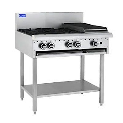 LUUS ESSENTIALS BCH 900MM 4 Burner 300mm Chargrill Cooktop 95mj NAT/95mj LPG