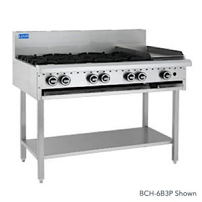 LUUS ESSENTIALS BCH 1200MM 6 Burner 300mm Chargrill Cooktop 131mj NAT/131mj LPG