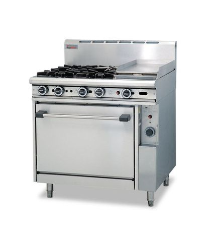 Trueheat - 4 Open Burners, 300mm Griddle And Oven - Natural Gas (900mm Wide)