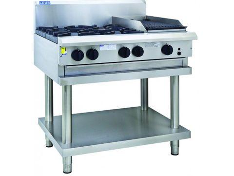 LUUS PROFESSIONAL CS 900MM 4 Burner 300mm Chargrill Cooktop 145mj NAT/145mj LPG