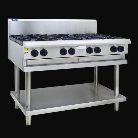 LUUS PROFESSIONAL CS 1200MM 6 Burner 300mm Chargrill Cooktop 201mj NAT/201mj LPG