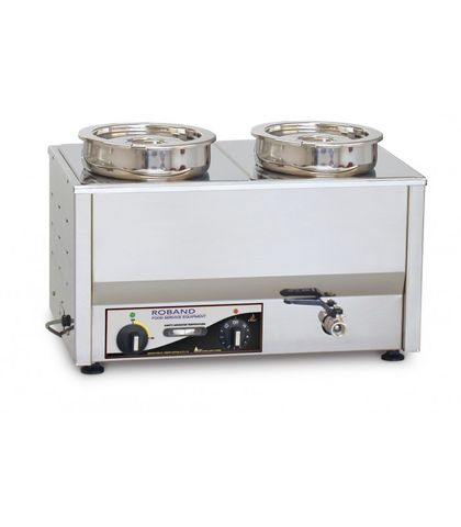 Roband BM2 - Counter Top Bain Marie 2 X 200mm Round (7.25L) Pots & Lids