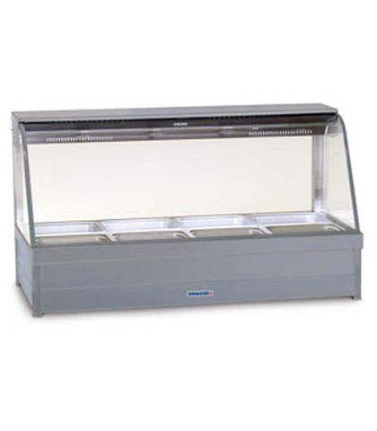Roband C24 - Curved Glass Hot Food Display Bars - Double Row, 4 Pans Wie