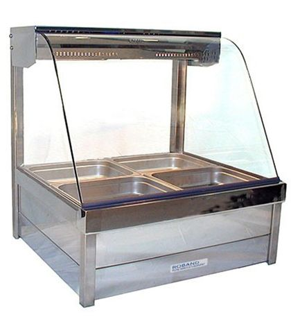 Roband C22 - Curved Glass Hot Food Display Bars - Double Row, 2 Pans Wide